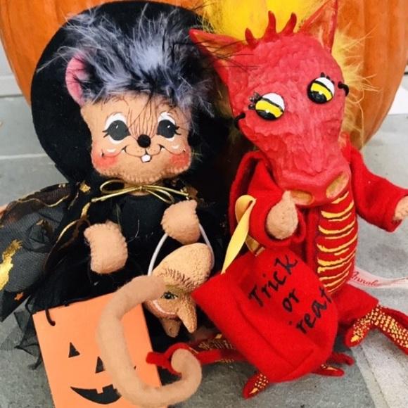 2 Annalee Halloween Trick or Treater Dolls LOT